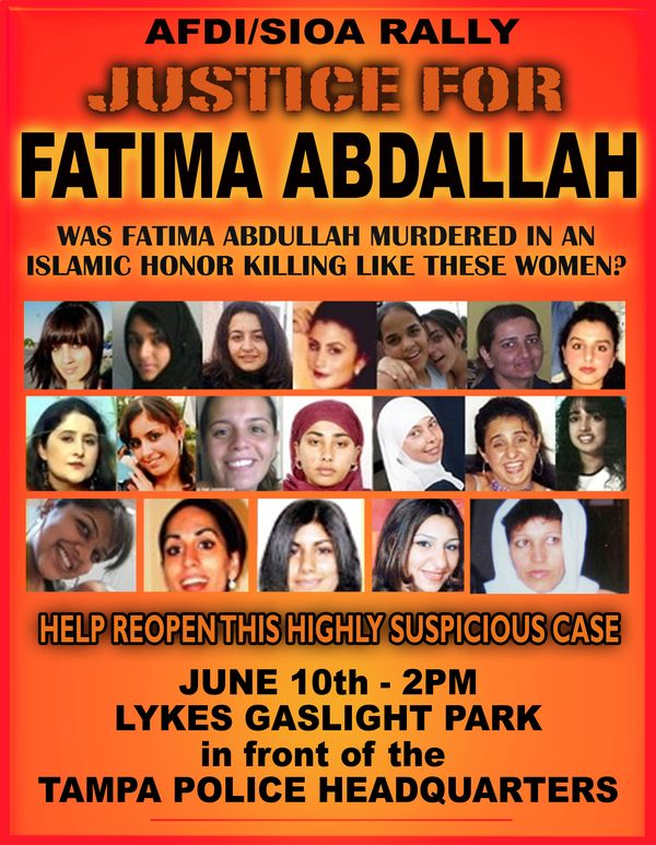 """Justice for Fatima"" Protest June 10th, Tampa Florida – Stand Against Honor Killing Cover-Up"