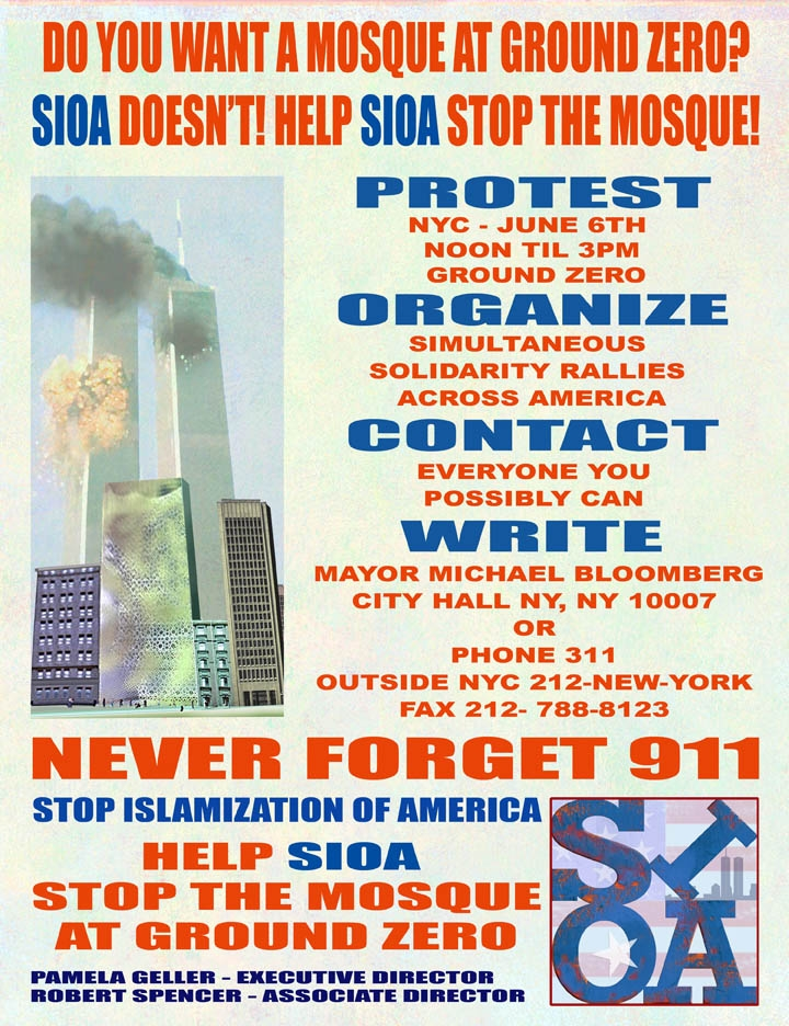 Rally to stop the building of a mosque at ground zero
